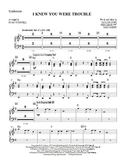 I Knew You Were Trouble - Synthesizer Sheet Music