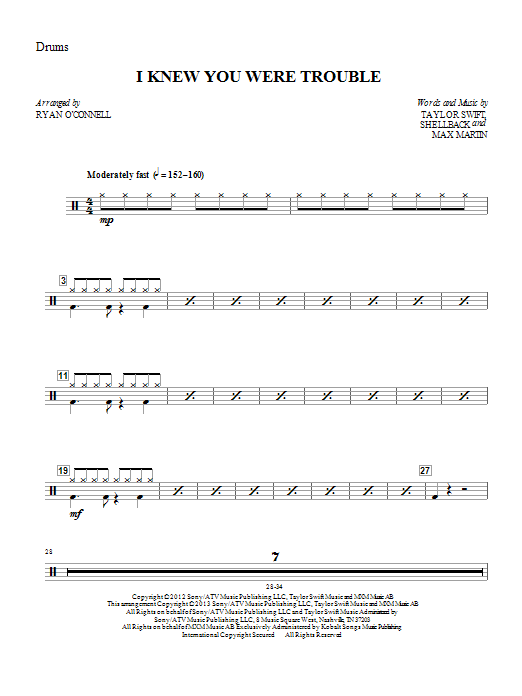 I Knew You Were Trouble - Drum Set Sheet Music