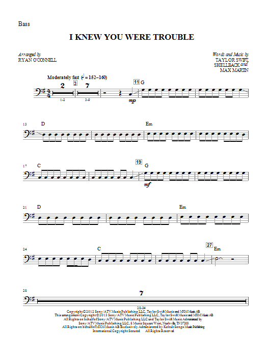 I Knew You Were Trouble - Bass Sheet Music