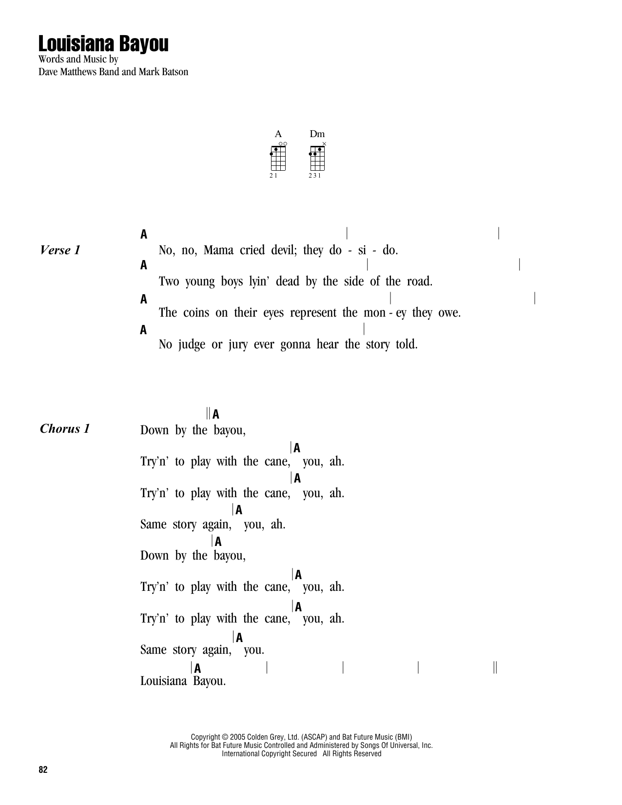 Tablature guitare Louisiana Bayou de Dave Matthews Band - Ukulele (strumming patterns)