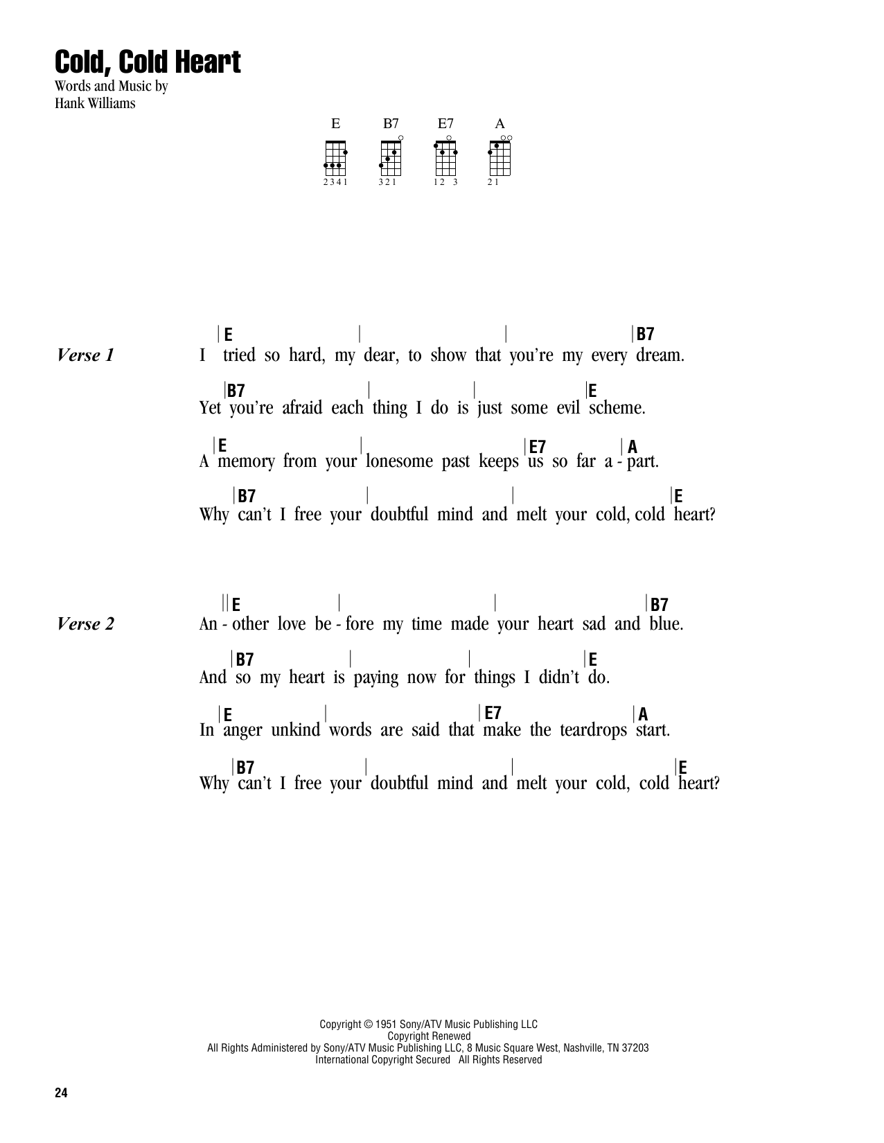 Cold Cold Heart Sheet Music Hank Williams Ukulele With