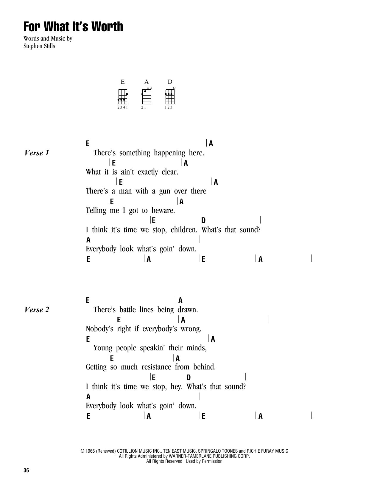 For What It S Worth Sheet Music By Buffalo Springfield Ukulele With