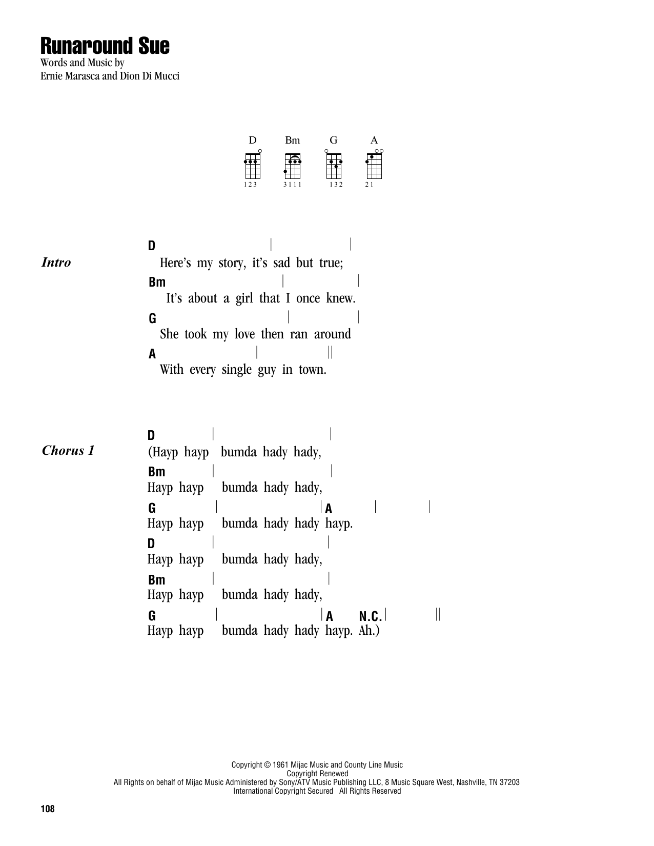 Tablature guitare Runaround Sue de Dion - Ukulele (strumming patterns)