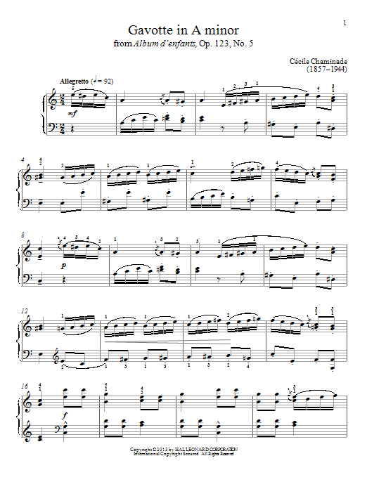 Gavotte In A Minor Sheet Music