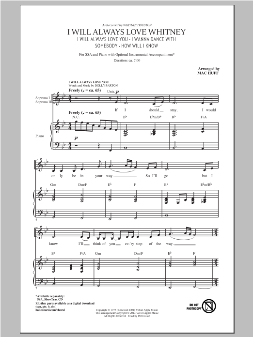 Partition chorale I Will Always Love Whitney de Mac Huff - SSA