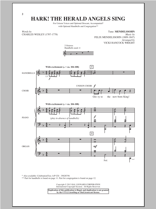 Hark! The Herald Angels Sing (arr. Vicki Hancock Wright) Sheet Music