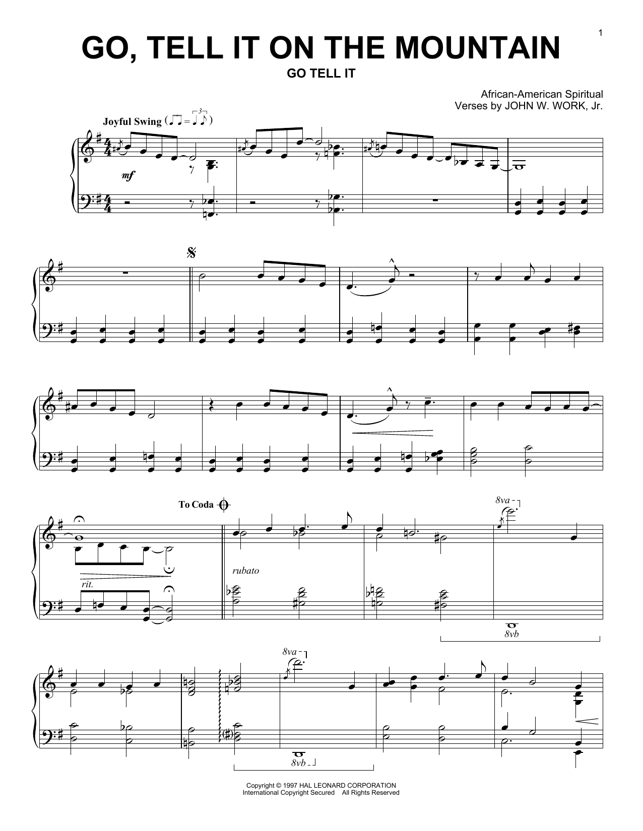 Partition piano Go, Tell It On The Mountain de African-American Spiritual - Piano Solo