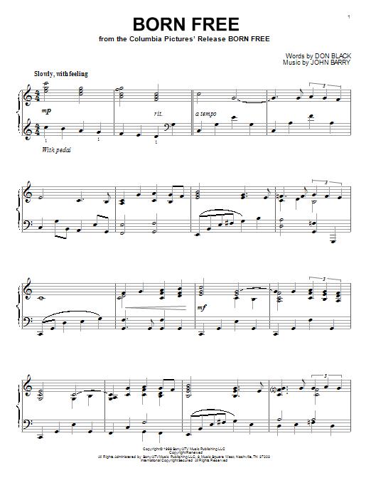Partition piano Born Free de Roger Williams - Piano Solo