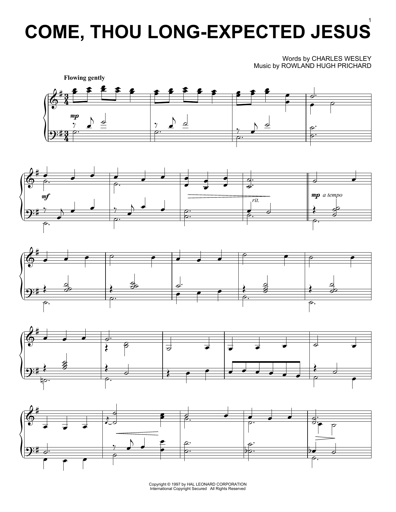 Come Thou Long Expected Jesus Print Sheet Music Now