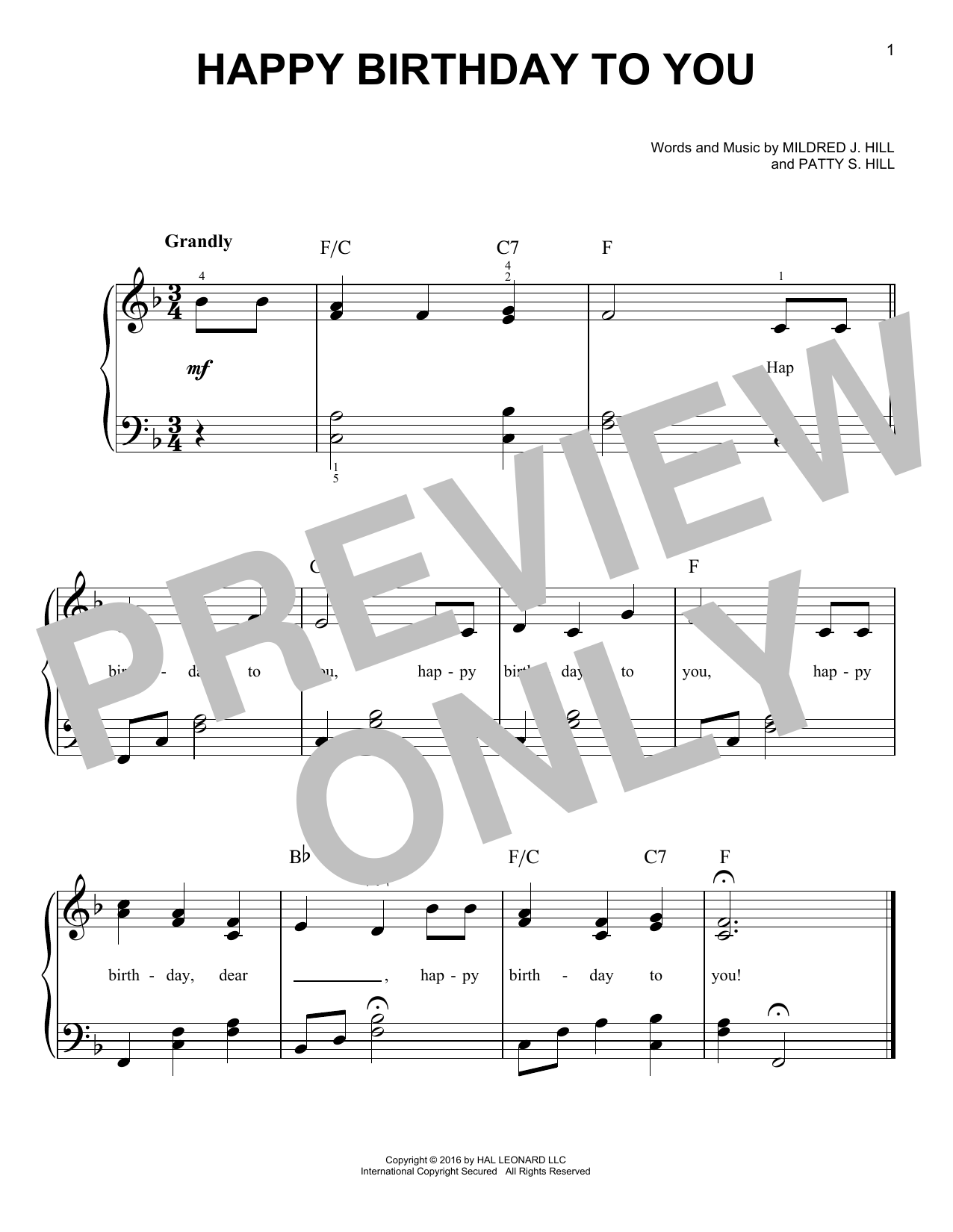 Happy Birthday To You sheet music for piano solo by Mildred J. Hill and Patty Smith Hill. Score Image Preview.