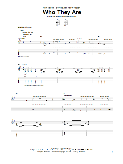 Tablature guitare Who They Are de Volbeat - Tablature Guitare