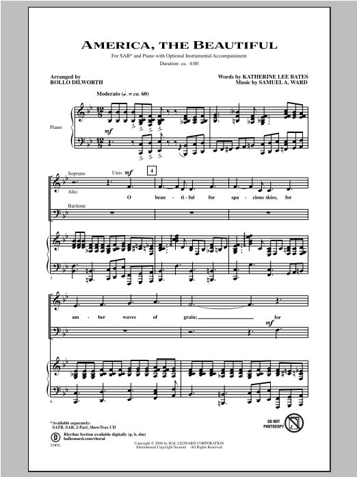 America, The Beautiful Sheet Music
