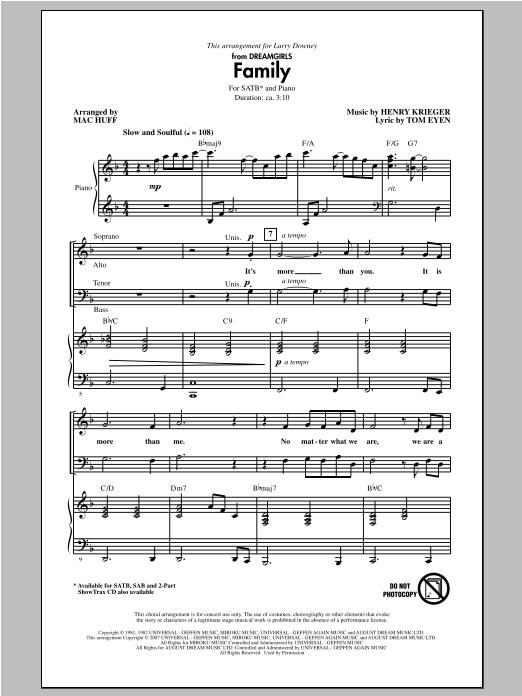 Partition chorale Family de Mac Huff - SATB