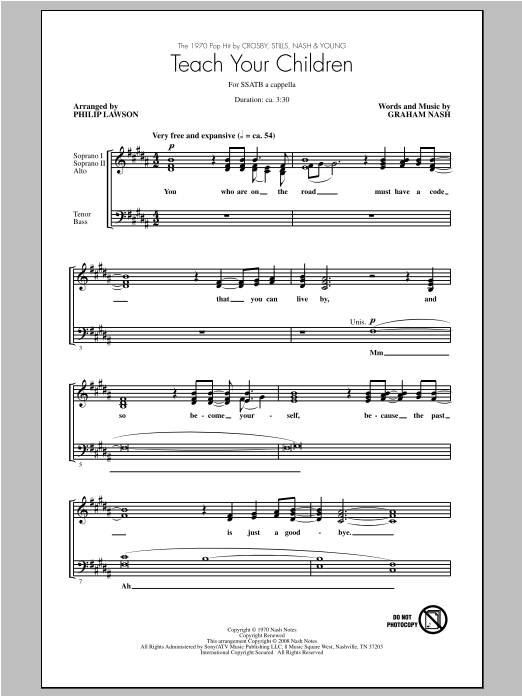Partition chorale Teach Your Children de Stills Crosby - SATB