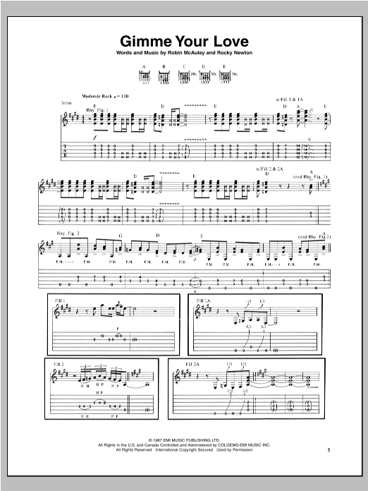 Gimme Your Love Sheet Music