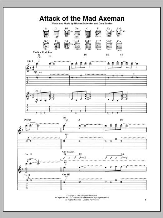 Attack Of The Mad Axeman (Guitar Tab)