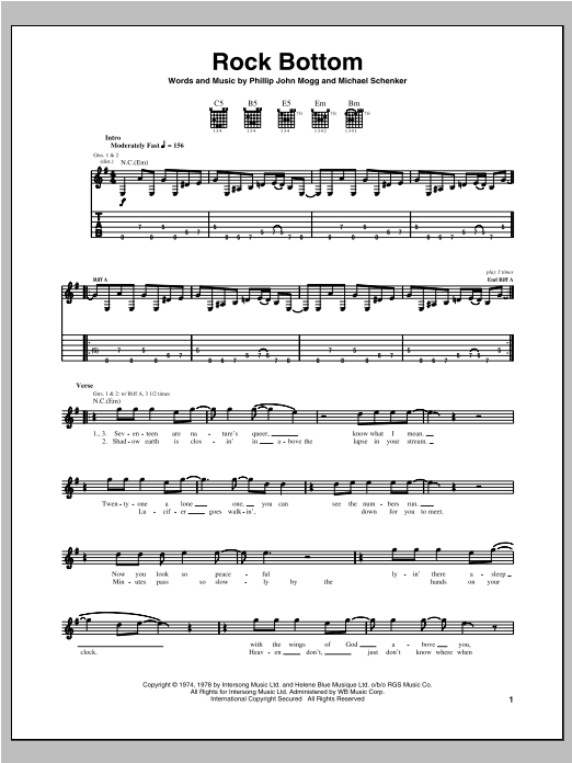 Rock Bottom (Guitar Tab)