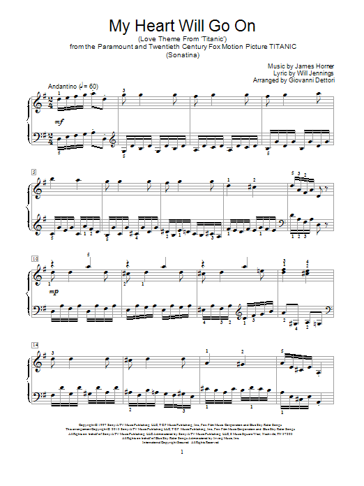 My Heart Will Go On (Love Theme from Titanic) : Sheet Music Direct