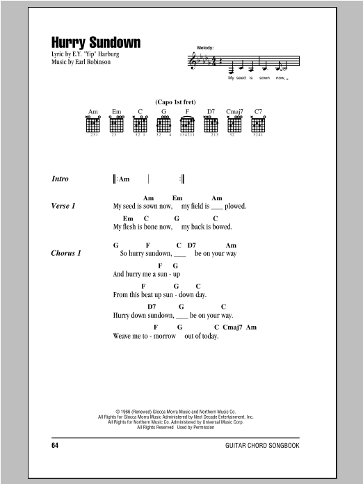 Hurry Sundown Sheet Music