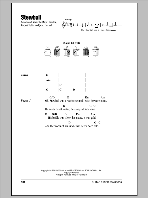 Stewball Sheet Music Direct