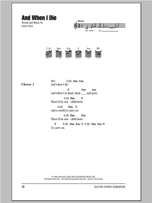 And When I Die Sheet Music