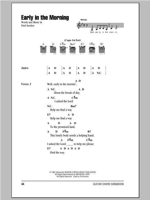 Early In The Morning (Guitar Chords/Lyrics)