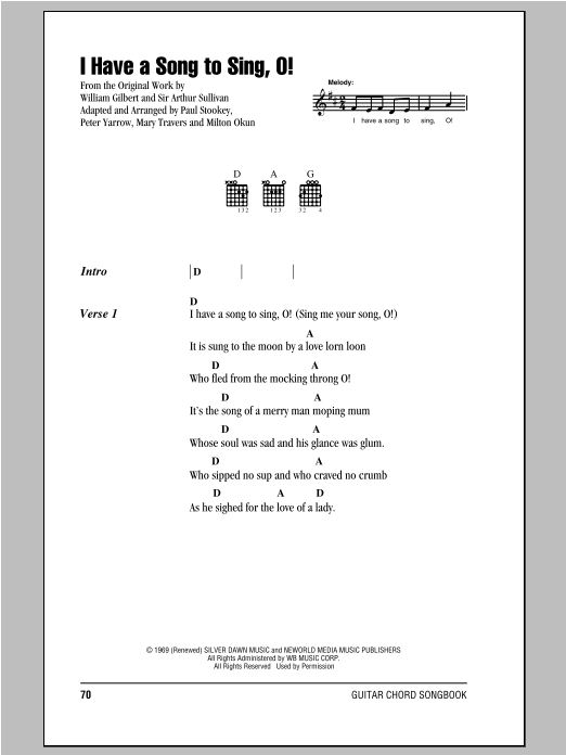 I Have A Song To Sing, O! Sheet Music