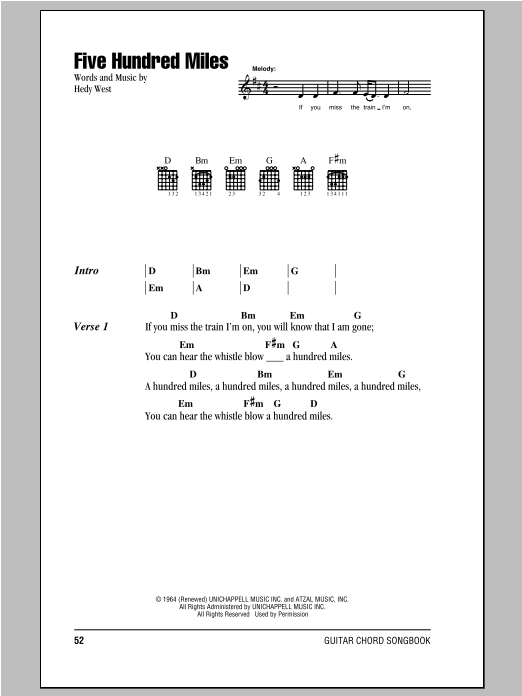 Five Hundred Miles Sheet Music
