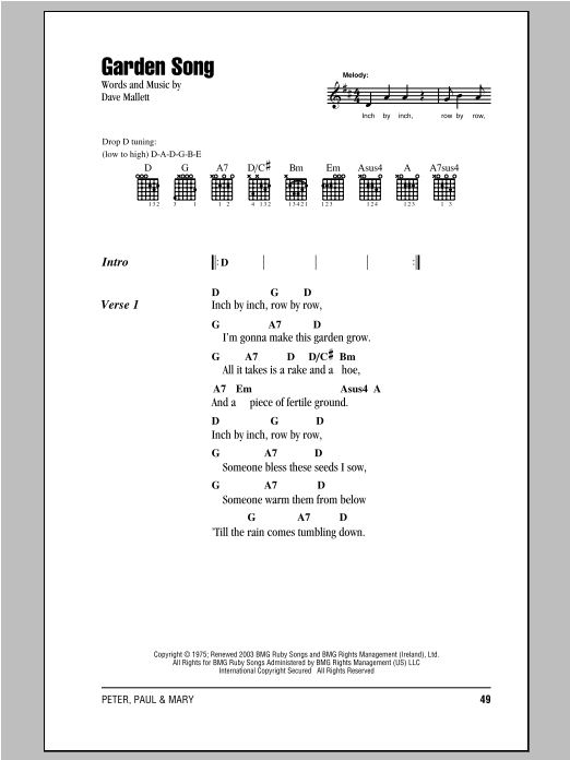 Garden Song Sheet Music