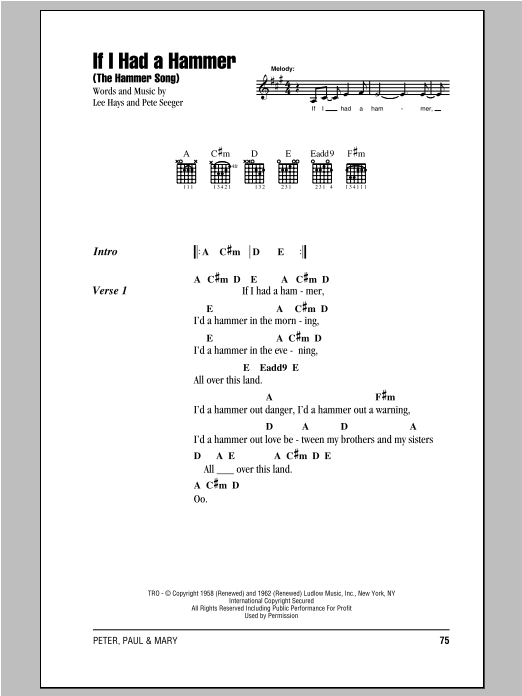 If I Had A Hammer (The Hammer Song) (Guitar Chords/Lyrics)