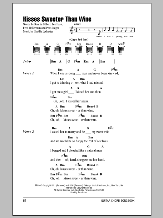 Kisses Sweeter Than Wine Sheet Music
