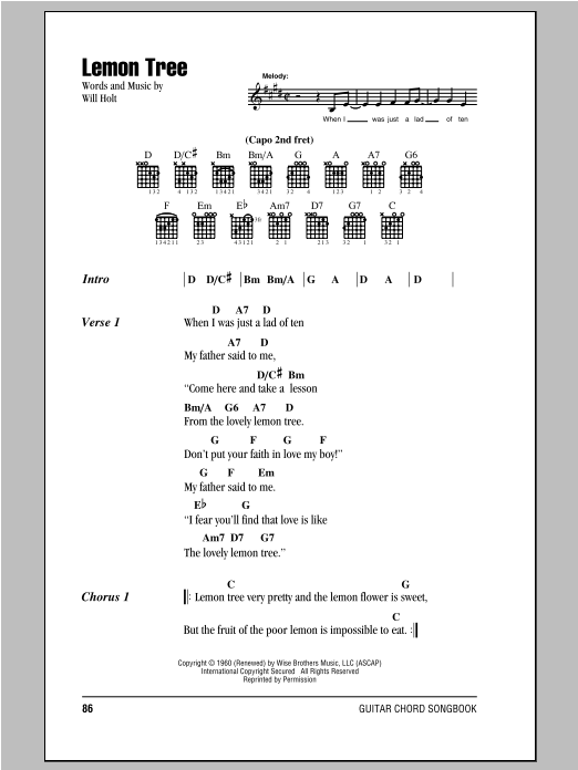 Lemon Tree Sheet Music Peter Paul Mary Lyrics Chords