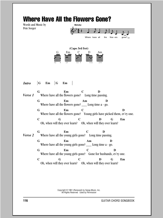 Where Have All The Flowers Gone? sheet music by Peter, Paul & Mary ...