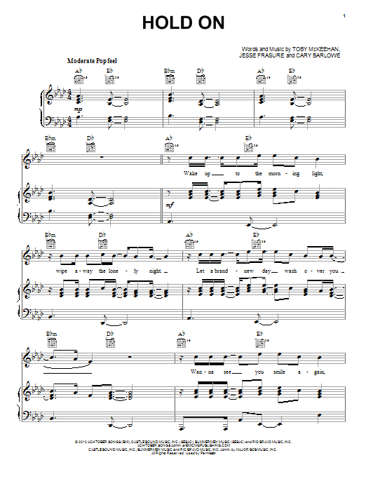 Hold On (Piano, Vocal & Guitar (Right-Hand Melody))