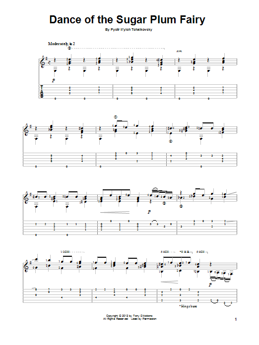Tablature guitare Dance Of The Sugar Plum Fairy de Tony D'Addono - Tablature Guitare