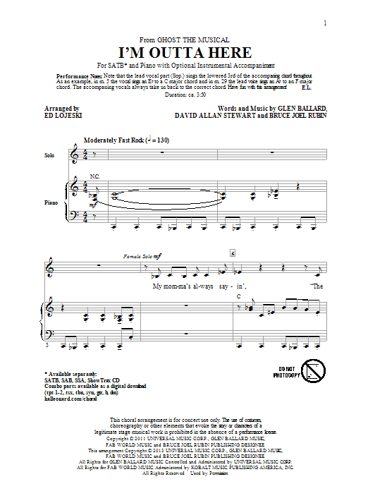 I'm Outta Here (from Ghost The Musical) (arr. Ed Lojeski) Sheet Music
