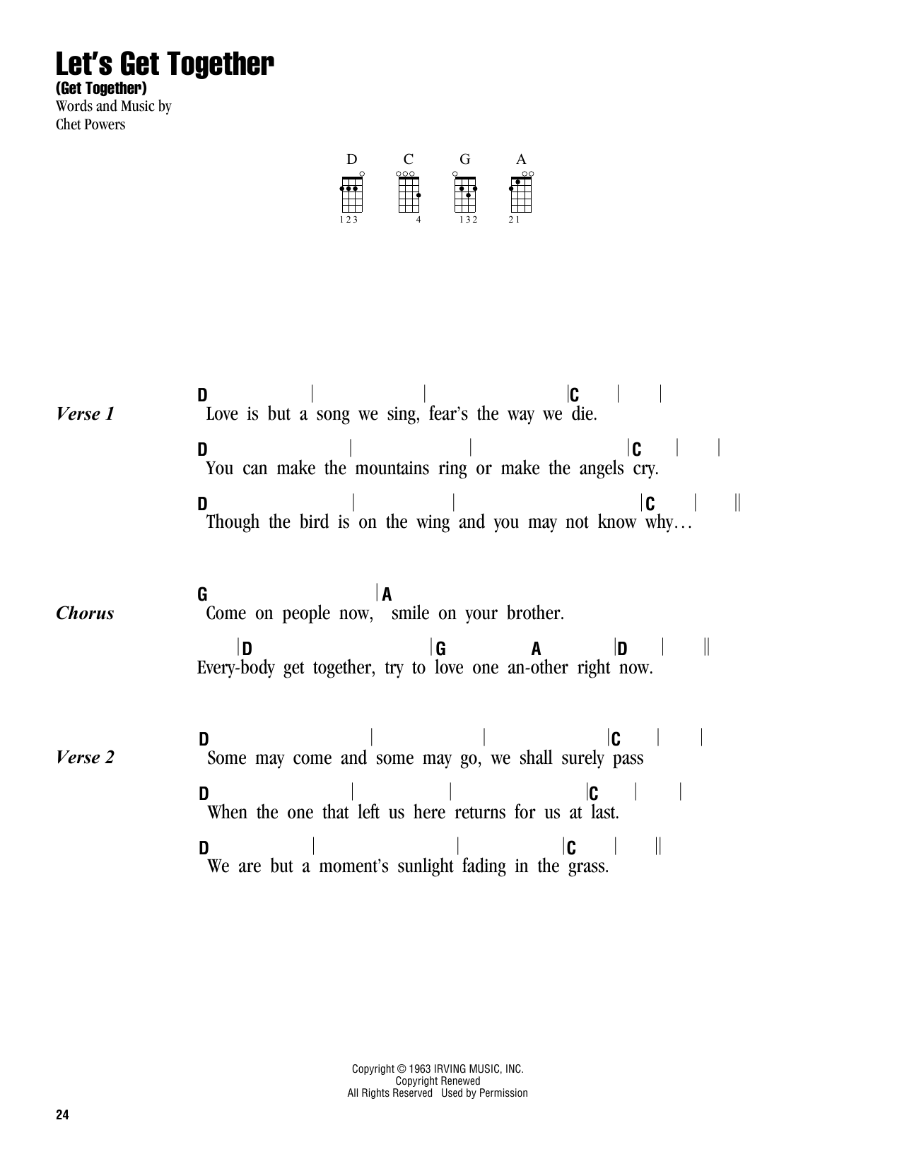 Let's Get Together (Get Together) Sheet Music