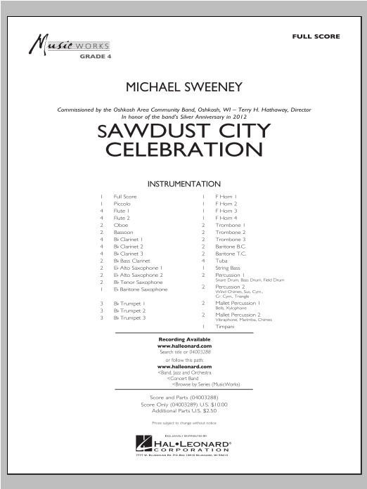 Sawdust City Celebration (COMPLETE) sheet music for concert band by Michael Sweeney. Score Image Preview.