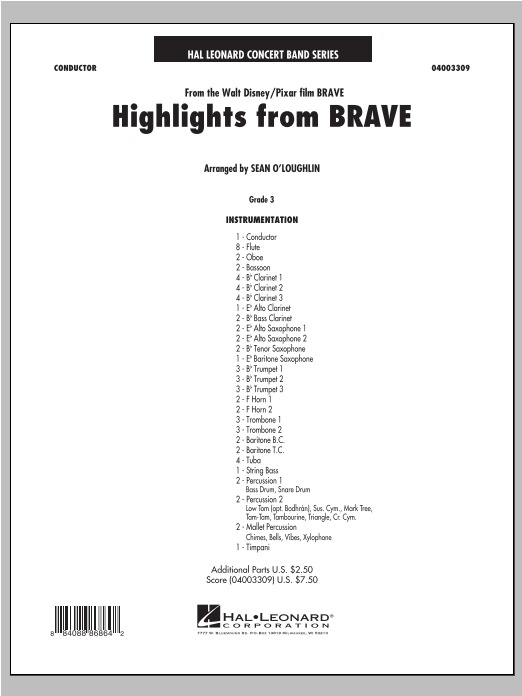 Highlights From Brave (COMPLETE) sheet music for concert band by Sean O'Loughlin. Score Image Preview.