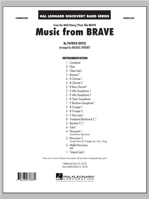 Music From Brave (COMPLETE) sheet music for concert band by Patrick Doyle and Michael Sweeney. Score Image Preview.