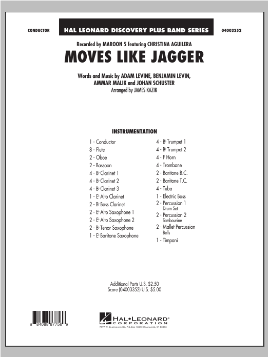 Moves Like Jagger (COMPLETE) sheet music for concert band by James Kazik and Maroon 5. Score Image Preview.