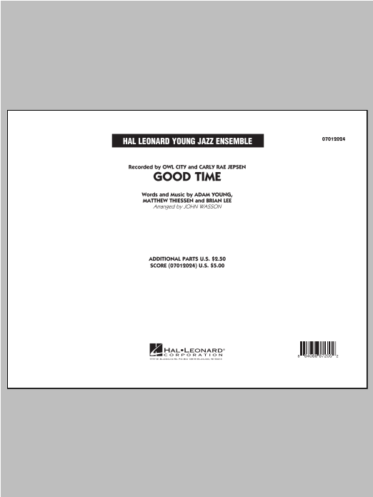 Good Time (COMPLETE) sheet music for jazz band by John Wasson and Owl City. Score Image Preview.