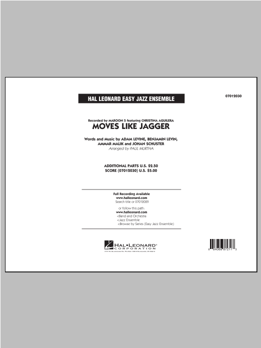 Moves Like Jagger (COMPLETE) sheet music for jazz band by Maroon 5 and Paul Murtha. Score Image Preview.