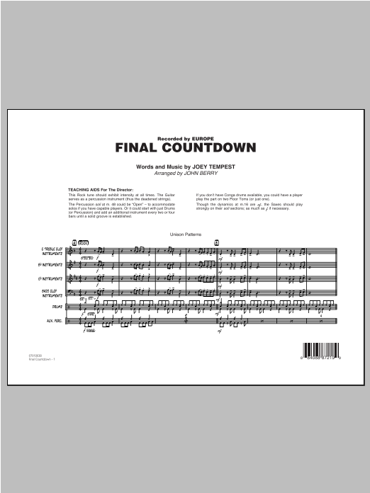 Final Countdown (COMPLETE) sheet music for jazz band by John Berry. Score Image Preview.