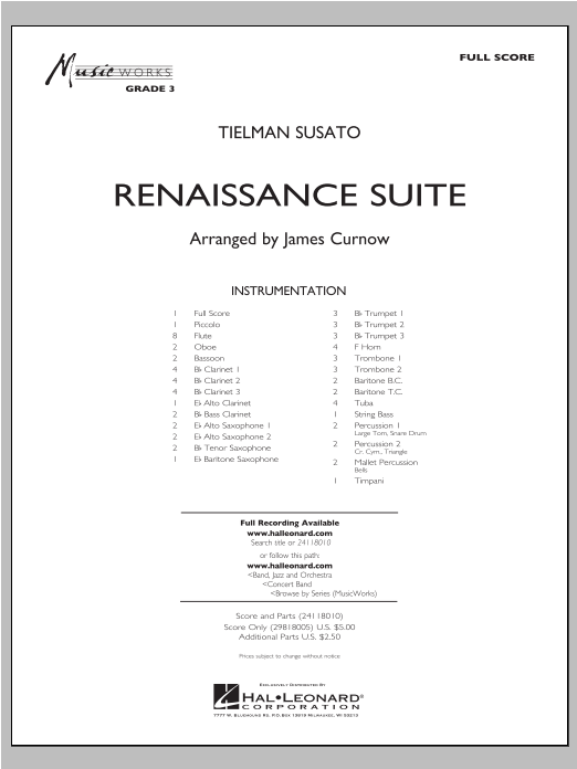 Renaissance Suite (COMPLETE) sheet music for concert band by James Curnow. Score Image Preview.