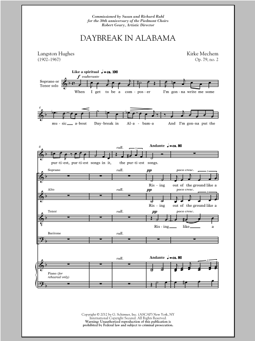 Daybreak In Alabama Sheet Music