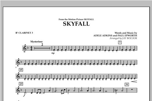 Skyfall - Bb Clarinet 3 Sheet Music