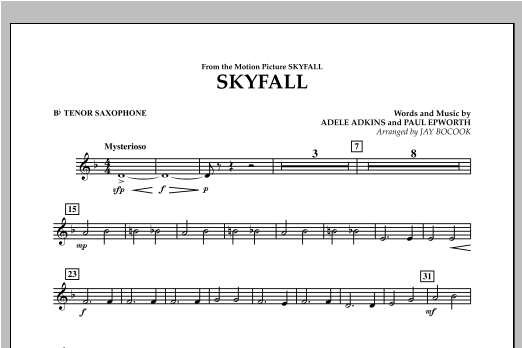 Skyfall - Bb Tenor Saxophone Sheet Music