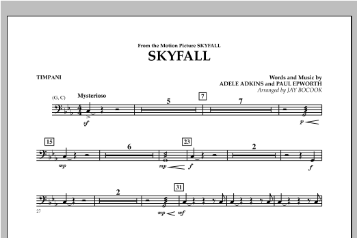 Skyfall - Timpani Sheet Music