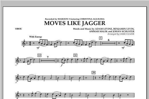 Moves Like Jagger - Oboe Sheet Music
